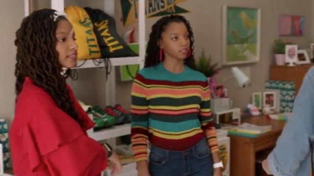 Striped sweater of Jazlyn Forster (Chloe Bailey) seen in Grown-Ish Season 1 Episode 6 - TV Show Outfits and Products