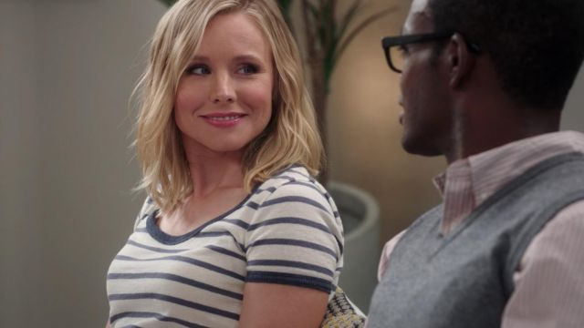 Striped t-shirt from Eleanor Shellstrop (Kristen Bell) seen in The Good Place (Season 3 Episode 7) - TV Show Outfits and Products