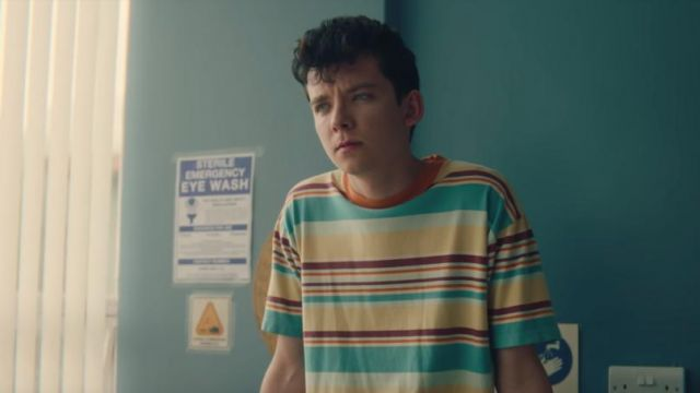 Striped t-shirt outfit seen on Otis (Asa Butterfield) as seen in Sex Education S01E03 - TV Show Outfits and Products