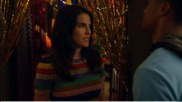 Striped top, Alice + Olivia Laurel Castillo (Karla Souza) seen in the How to get away with Murder Season 5 Episode 6 - TV Show Outfits and Products