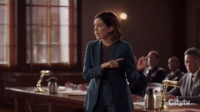 Suistudio Cameron Wool Suit Jacket in Teal outfit worn by Sydney Strait (Caitlin McGee) in Bluff City Law Season 1 Episode 8 - TV Show Outfits and Products