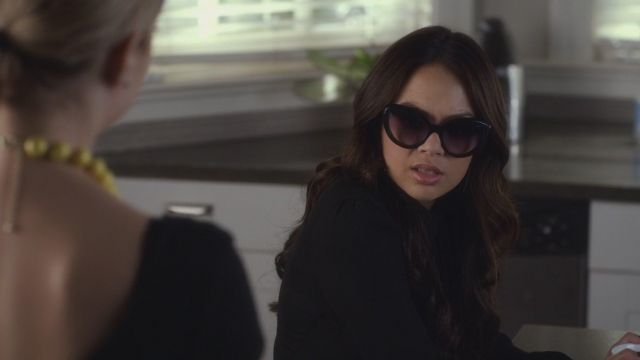 Sunglasses of Mona Vanderwaal (Janel Parrish) seen in Pretty Little Liars Season 6 Episode 5 - TV Show Outfits and Products