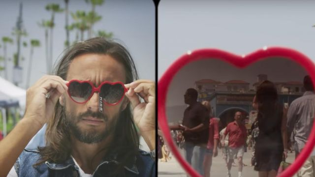Sunglasses with heart shaped red Bob Sinclar in her video clip Summer Moonlight - Youtube Outfits and Products