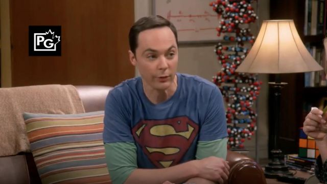Superman t-shirt Vintage Logo outfit worn by Sheldon Cooper (Jim Parsons) seen in The Big Bang Theory S12 Episode 6 - TV Show Outfits and Products