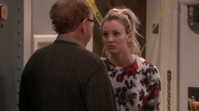 Sweater is white with red roses Penny (Kaley Cuoco) seen in the Big Bang Theory S12 Episode 1 - TV Show Outfits and Products