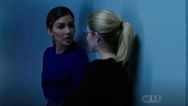 Sweater lilac Boss carried by Dinah Drake (Juliana Harkavy) seen in Arrow Season 7 Episode 3 - TV Show Outfits and Products