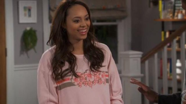 Sweater pink flowers Xirena outfit worn by Claire (Amber Stevens West) seen in Happy Together Season 1 Episode 6 - TV Show Outfits and Products