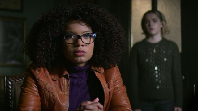 Sweater turtleneck purple Coldwater Creek outfit worn by Rosalind Walker (Jaz Sinclair) seen in The New Adventures of Sabrina Season 1 Episode 3 - TV Show Outfits and Products