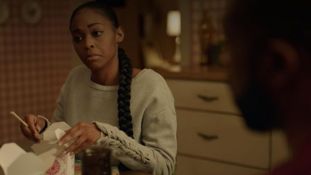 Sweatshirt grey Joe's Jeans outfit worn by Anissa Pierce (Nafessa Williams) seen in Black Lightning Season 1E11 - TV Show Outfits and Products