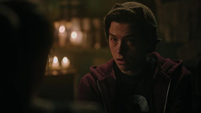 Sweatshirt hoody bordeaux outfit worn by Jughead Jones (Cole Sprouse) seen in Riverdale Season 3 Episode 5