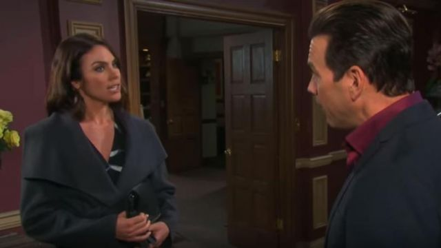 T Tahari Ellie Coat in Sea Grey outfit worn by Chloe Lane (Nadia Bjorlin) as seen in Days of Our Lives March 5, 2019 - TV Show Outfits and Products