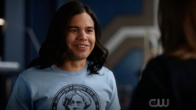 T-shirt blue Michael Faraday carried by Cisco Ramon (Carlos Valdes) seen in the Flash Season 5 Episode 2 - TV Show Outfits and Products
