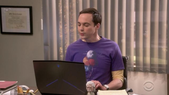 T-shirt purple The Spaceman''s Trip of Sheldon Cooper (Jim Parsons) seen in The Big Bang Theory S12 Episode 4 - TV Show Outfits and Products