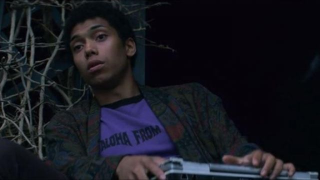 """T-shirt violet """"Aloha from hell"""" Ambrose Spellman (Chance Perdomo) seen in The New Adventures of Sabrina (Season 1 Episode 1) - TV Show Outfits and Products"""