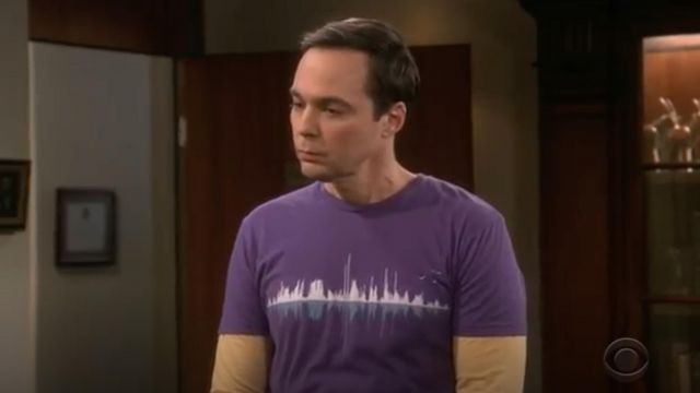 T-shirt violet 'Music City' outfit worn by Sheldon Cooper (Jim Parsons) seen in The Big Bang Theory S12 Episode 5 - TV Show Outfits and Products