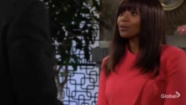 Tahari ASL Cropped-Jacket dress suit outfit worn by Amanda Sinclair (Mishael Morgan) in The Young and the Restless October 4, 2019 - TV Show Outfits and Products
