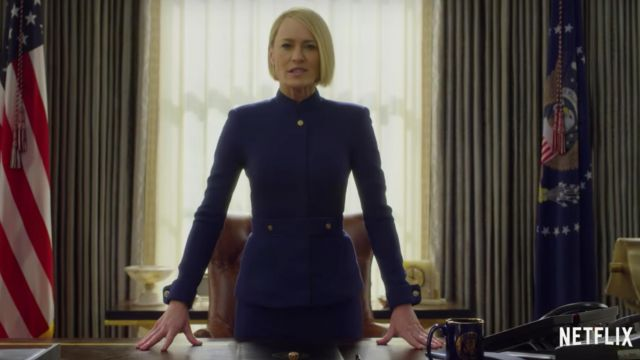 Fashion Trends 2021: Tailor blue of Claire Underwood (Robin Wright) seen in House of Cards-Season 6