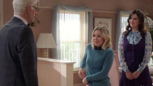 Teal Cashmere Sweater outfit worn by Eleanor Shellstrop (Kristen Bell) in The Good Place Season 04 Episode 07 - TV Show Outfits and Products