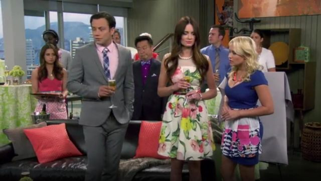 Ted Baker Iberis Floral Lace Dress outfit worn by Caroline Huntington (Mallory Jansen) in Young & Hungry (S01E04) - TV Show Outfits and Products