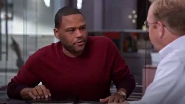Ted Baker London Holaday Modern Slim Fit Ombré Crewneck Sweater outfit worn by Andre 'Dre' Johnson (Anthony Anderson) in black-ish (S02E05) - TV Show Outfits and Products