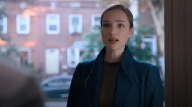 Ted Baker Navy ELLGENC Long belted wrap coat outfit worn by Mira Byrd (Kristen Connolly) in Evil Season 1 Episode 7 - TV Show Outfits and Products