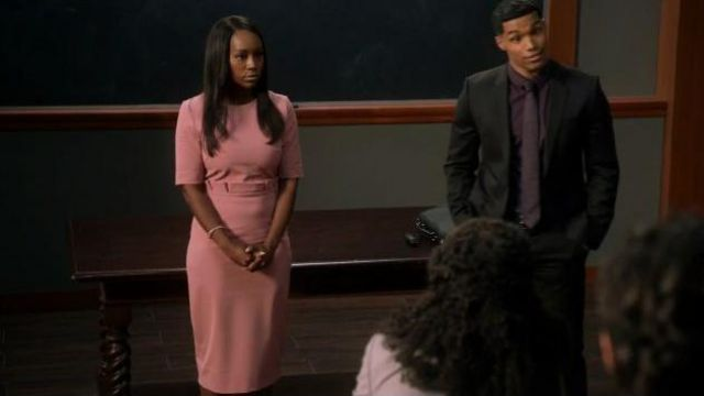 Ted Baker Pink Ruffle Waist Dress outfit worn by Michaela Pratt (Aja Naomi King) in How to Get Away with Murder Season 06 Episode 07 - TV Show Outfits and Products