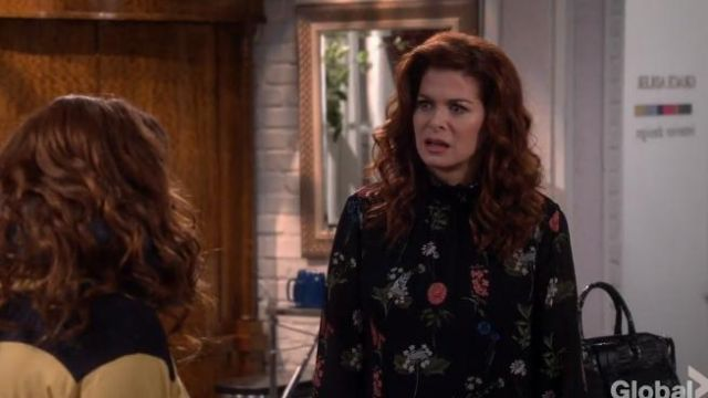 Ted Baker Taalia Florence Blouse outfit worn by Grace Adler (Debra Messing) in Will & Grace (S02E09) - TV Show Outfits and Products