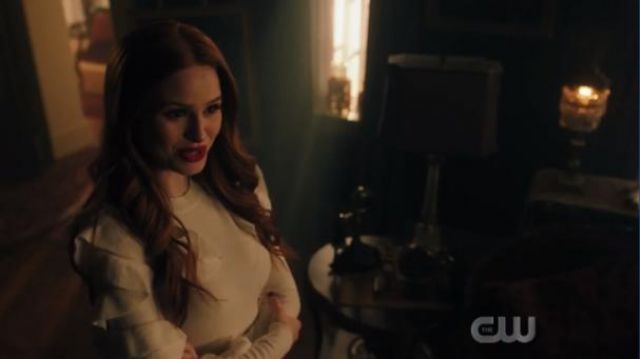 Ted Baker White PALLEGE Frill sleeve and shoulder sweater outfit worn by Cheryl Blossom (Madelaine Petsch) in Riverdale Season 4 Episode 6 - TV Show Outfits and Products