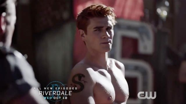 Temporary tattoo of the Southside Serpents of Archie Andrews (K. J. Apa) seen in Riverdale, Season 3 - TV Show Outfits and Products