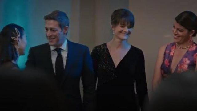 Teri Jon by Rickie Freeman Stretch Velvet Sequin Gown outfit worn by Jane Stulbarg (Enid Graham) in Madam Secretary Season 6 Episode 6 - TV Show Outfits and Products