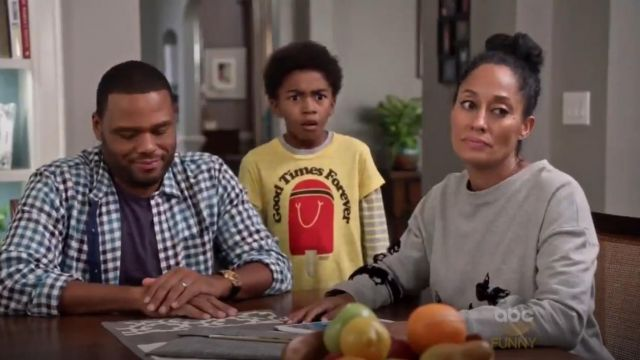 Thakoon Addition Flocked Floral Sweatshirt outfit worn by Rainbow Johnson (Tracee Ellis Ross) in black-ish (S02E01) - TV Show Outfits and Products