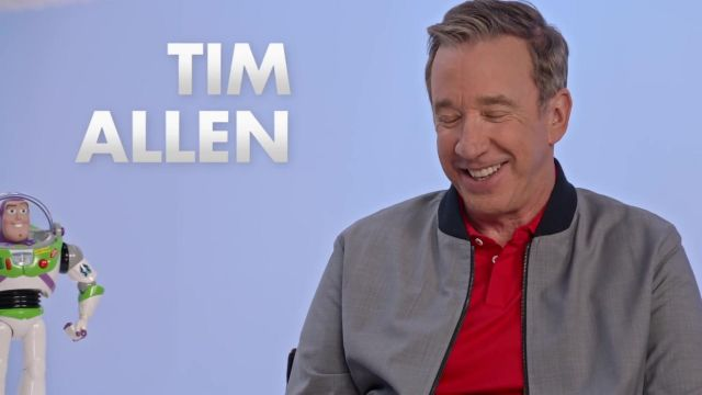 The Bomber grey outfit worn by Tim Allen in the video Pixar Tom hanks & Tim Allen Toy Story 4 - Youtube Outfits and Products