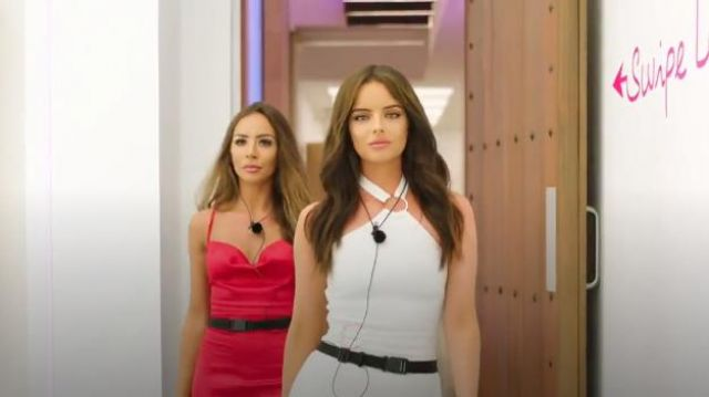 The Girlcode bandage dress with ring detail in white outfit worn by Maura Higgins in Love Island (S05E10) - TV Show Outfits and Products