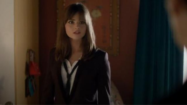 The Kooples Boyfriend Shirt with Floppy Bow outfit seen on Clara (Jenna Coleman) in Doctor Who (S08E05) - TV Show Outfits and Products