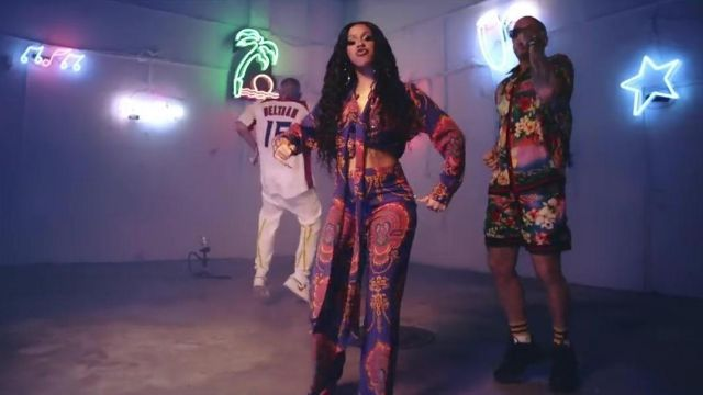 """The Printed Shirt to the Edge Web Gucci outfit worn by Bad Bunny """"Cardi B, Bad Bunny & J Balvin - I Like It [Official Music Video]"""" - Youtube Outfits and Products"""