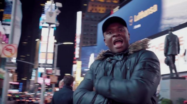 The Times Square of New York in the clip Mans not hot Big Shaq - Youtube Outfits and Products