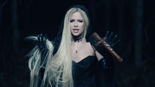 The black cape outfit worn by Avril Lavigne in her video clip I Fell In Love With The Devil - Youtube Outfits and Products