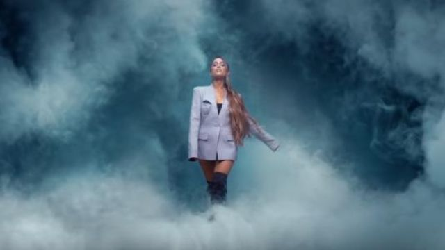The blazer grey structured Ariana Grande the clip breathin - Youtube Outfits and Products