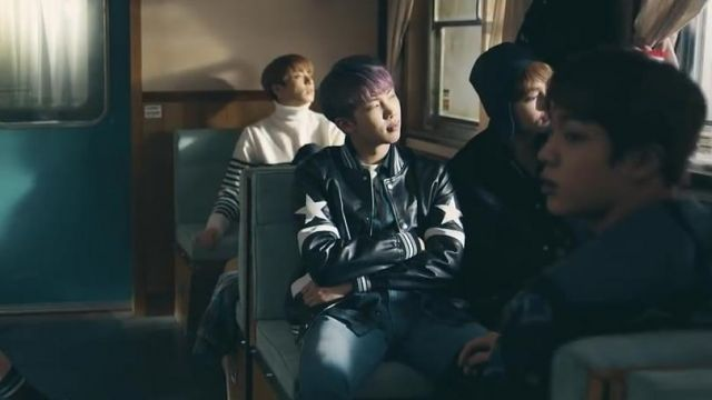 The bomber leather black Givenchy in the clip Spring Day BTS - Youtube Outfits and Products