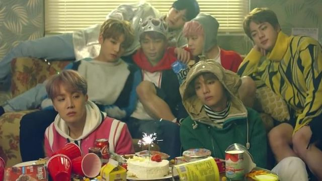 The candle on candle magic in the clip Spring Day BTS - Youtube Outfits and Products