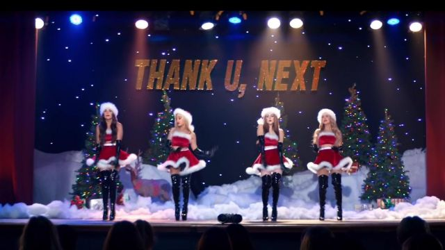 The fancy dress Christmas outfit worn by Ariana Grande in her video clip Thank u, next, - Youtube Outfits and Products
