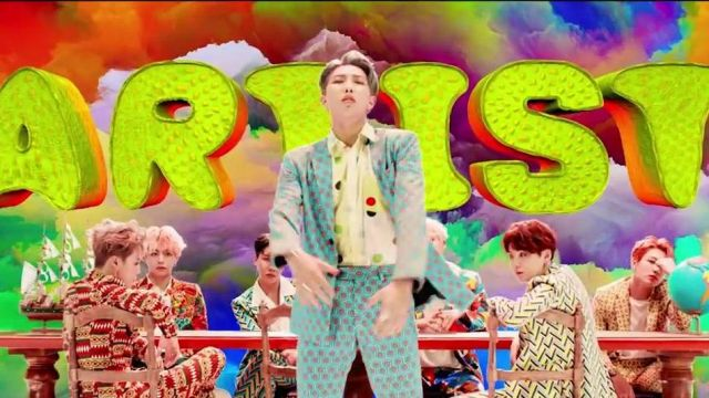 The green shirt with polka dots by comme des Garçons RM in BTS (방탄소년단) 'IDOL' Official MV - Youtube Outfits and Products
