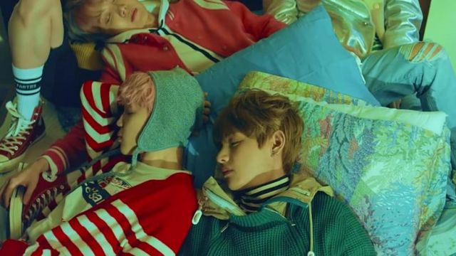 The green sweater Cardigan in the clip Spring Day BTS - Youtube Outfits and Products