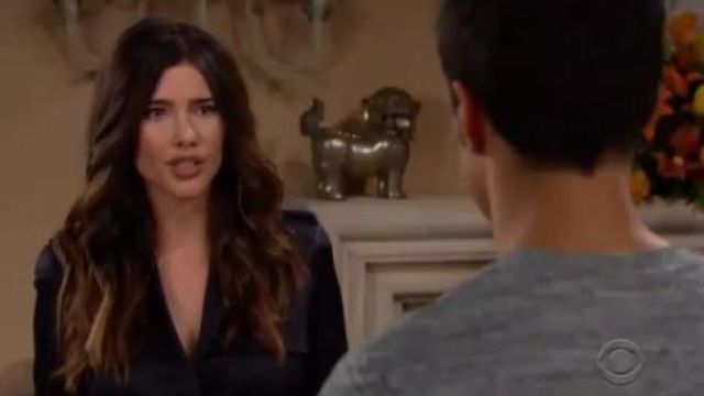 The kooples Loose Satin Top outfit worn by Steffy Forrester (Jacqueline MacInnes Wood) as seen on The Bold and the Beautiful November 6, 2019 - TV Show Outfits and Products