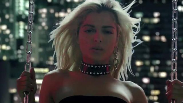The padded black leather Zana Bayne for Bebe Rexha in her video clip No Broken Heats ft. Nicki Minaj - Youtube Outfits and Products