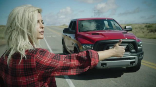 The pick-up truck RAM 1500 REBEL red in the clip Meant to Be of Bebe Rexha - Youtube Outfits and Products