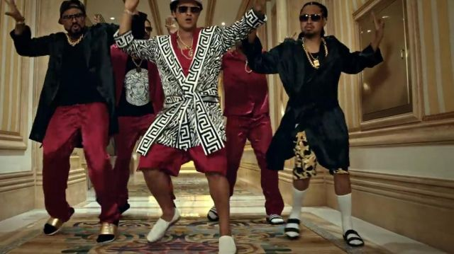 The sandals in the clip, 24k Magic of Bruno Mars - Youtube Outfits and Products