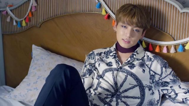 The shirt patterned with Jungkook in the clip Blood Sweat & Tears BTS - Youtube Outfits and Products
