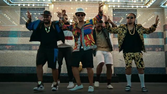 The shoes white leather Versace Bruno Mars in his clip, 24K Magic - Youtube Outfits and Products