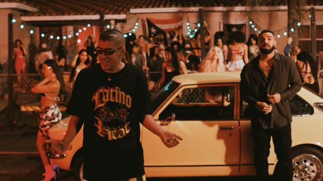 The short sleeve t-shirt black-Latino Heat carried by carried by Bad Bunny in the clip Bad Bunny feat. Drake - Mia (Video Official) - Youtube Outfits and Products